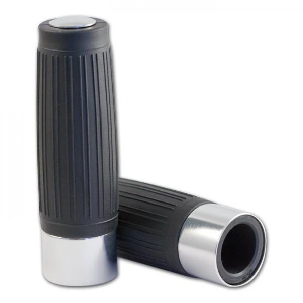 Choppergriff | Custom | Silber | geschl | 1 Zoll | Länge: 125 mm | Aluring / Endkappe Silber
