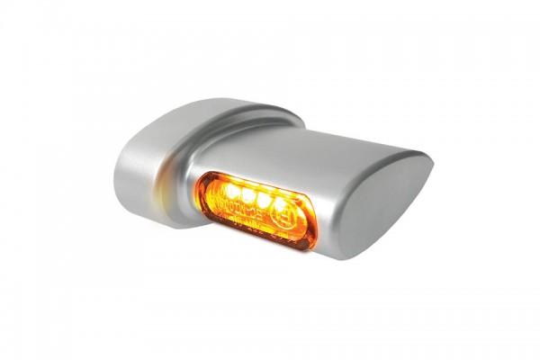 HeinzBikes Winglets MICRO LED Blinker, alle Harley-Davidson Modelle ab 1993, chrom seidenmatt, E-gep