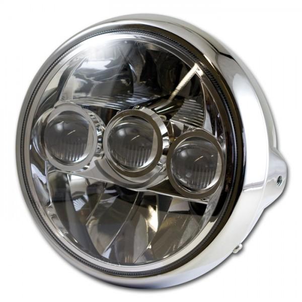 "LED-Scheinwerfer 7"", FARGO, chrom, M8 seitlich, Chromreflektor, British Style, E-geprüft"