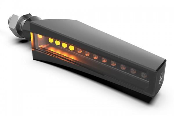 HIGHSIDER LED Sequenz-Blinker STS 1, schwarzes Gehäuse, getöntes Glas