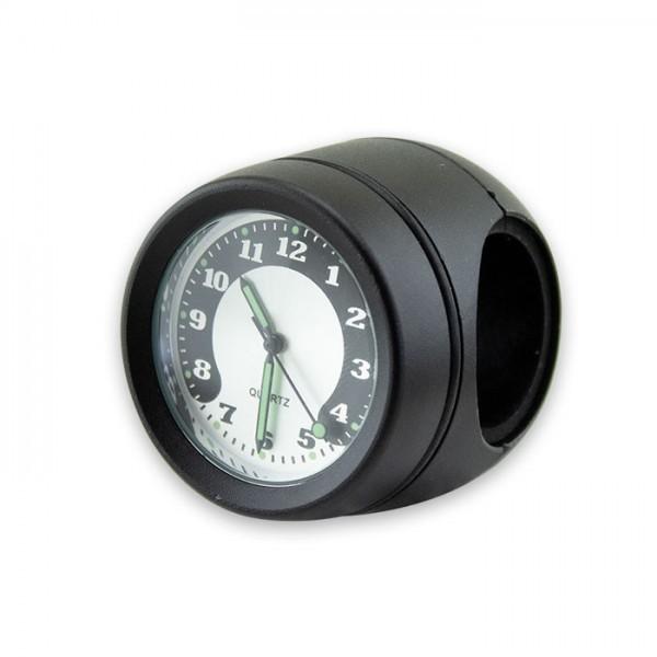 Lenker Quartz Uhr, 7/8 + 1 Zoll, schwarz, Ø 40 mm, wasserd., kurze Vers., Zifferblatt Silberr. Ø 30m