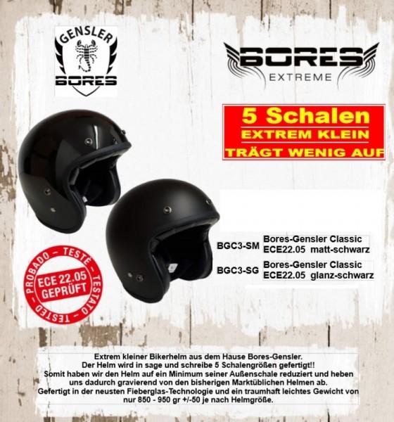 Bores-Gensler Classic kleiner Motorrad-Jethelm ECE22.05, Größe: XS-4XL