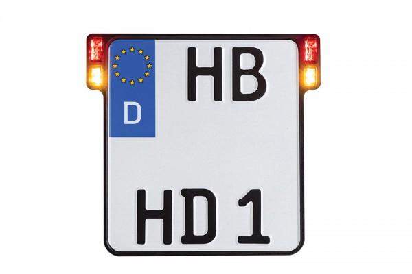 HeinzBikes ALL-INN 2.0 Kennzeichenhalter mit 3in1 Blinker Brems- & Rücklicht, schwarz eloxiert