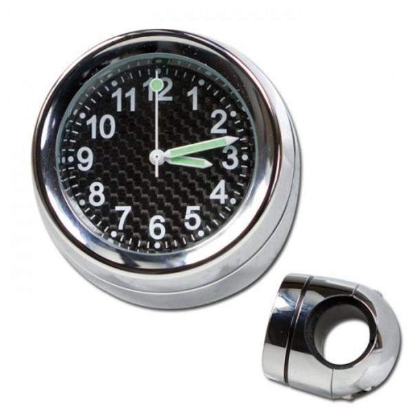 Lenker Quartz Uhr, 7/8 + 1 Zoll, chrom Ø 40 mm, wasserd., kurze Vers., Zifferblatt Carbon Ø 30 mm