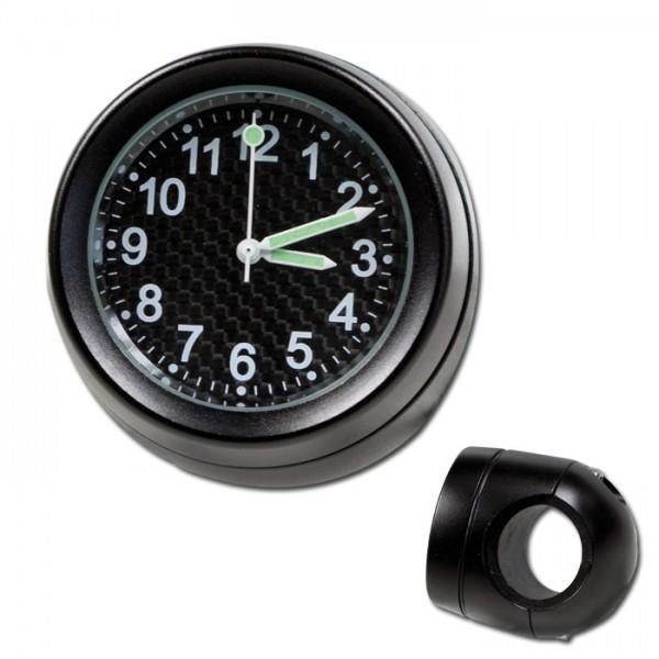 Lenker Quartz Uhr, 7/8 + 1 Zoll, schwarz, Ø 40 mm, wasserd., kurze Vers., Zifferblatt Carbon Ø 30 mm