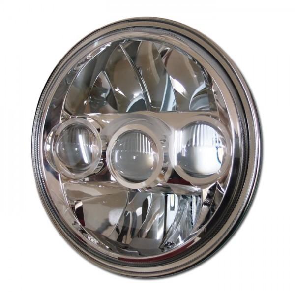 LED-Scheinwerfereinsatz 7 Zoll, FARGO, chrom, Ø=178 mm, Abblend/ Fern- und Standlicht, E-geprüft