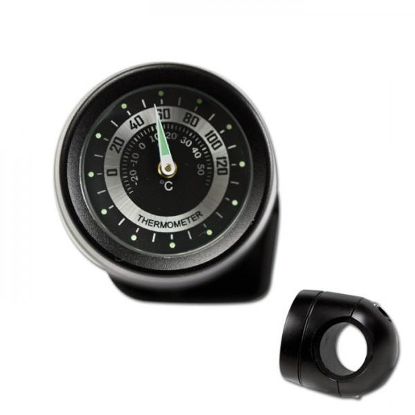Lenker Thermometer, 7/8 + 1 Zoll, schwarz, Ø 40mm, wasserd., kurze Vers., Zifferblatt Silberr. Ø 30m