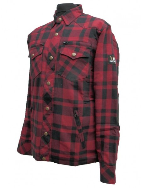 Bores Lumberjack Jacken-Hemd dunkelrot-schwarz, reißfest