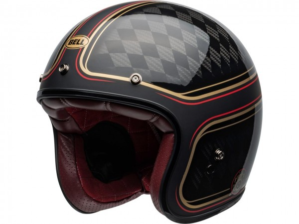 BELL Custom 500 Carbon DLX Helm RSD Checkmate Matte/Gloss Black/Gold