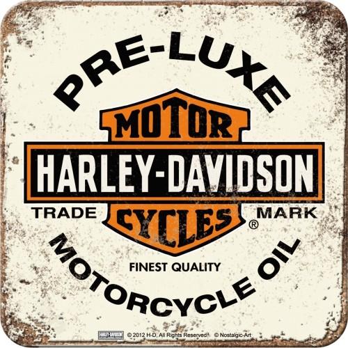 Harley-Davidson PRE-LUXE WHITE Metalluntersetzer 9 x 9 cm (Länge / Breite)