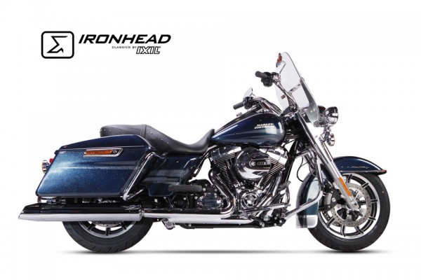 Edelstahl-Endtopf, chrom, H-D Touring Road King, 06-16, slip on, links/rechts, D=112mm, L=670mm - Ra