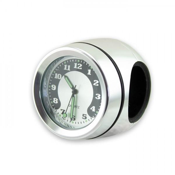 Lenker Quartz Uhr, 7/8 + 1 Zoll, chrom Ø 40mm, wasserd., kurze Vers., Zifferblatt Silberr. Ø 30mm