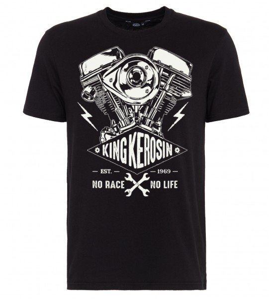 King Kerosin Shirt mit Frontprint im Bikerstyle No Race No Life