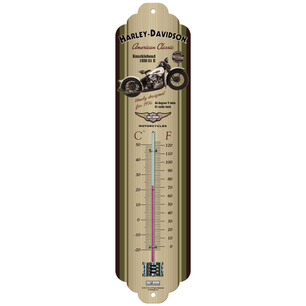 Harley-Davidson Knucklehead Thermometer Größe: ca 28x6cm