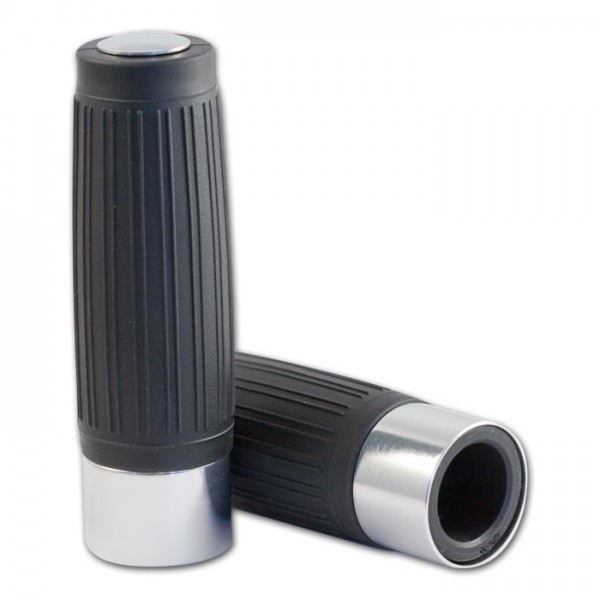 Choppergriff | Custom | Silber | geschl | 22mm | Länge: 125 mm | Aluring / Endkappe Silber