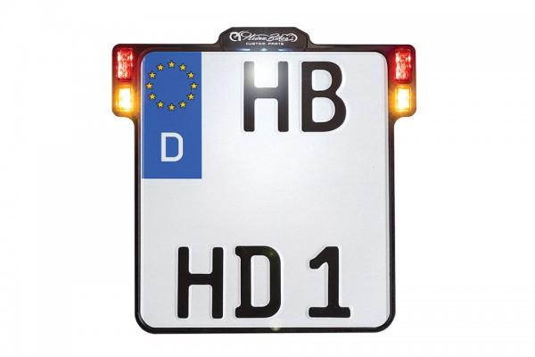 HeinzBikes ALL-INN 2.0 Kennzeichenhalter mit KNZ-Beleuchtung 3in1 Blinker Brems- & Rücklicht, chrom