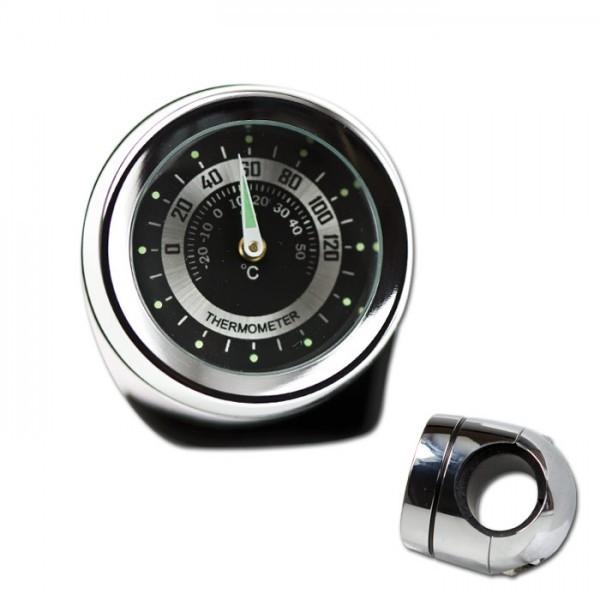 Lenker Thermometer, 7/8 + 1 Zoll, chrom, Ø 40mm, wasserd., kurze Vers., Zifferblatt Silberr. Ø 30mm