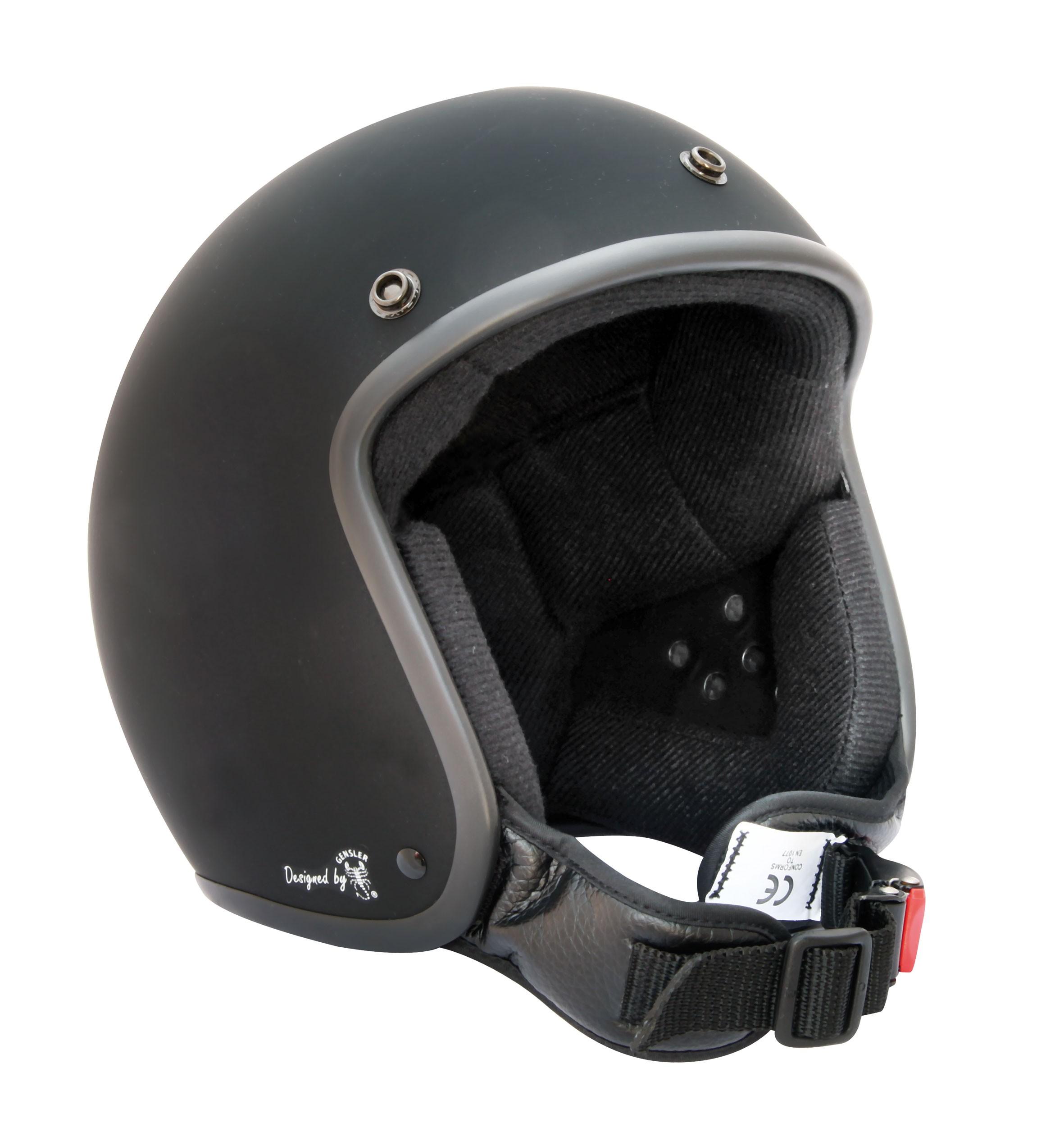 Bores Motorrad Helm Bogo 3 Jethelm glänzend Black