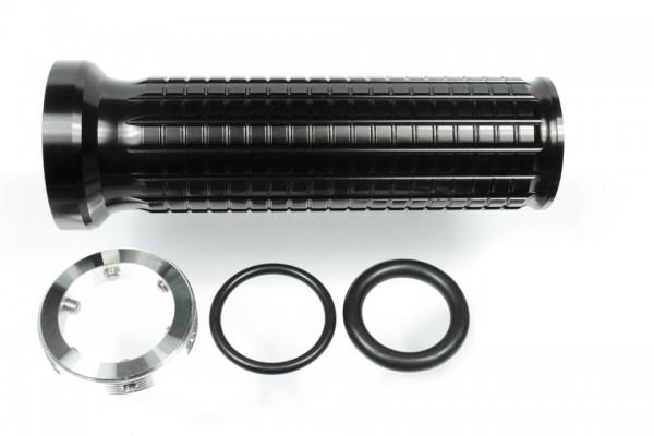Alugriffe m-Grip, CNC-gefräst, schwarz eloxiert, für 22 mm und 1 Zoll-Lenker, Ende offen, Paar