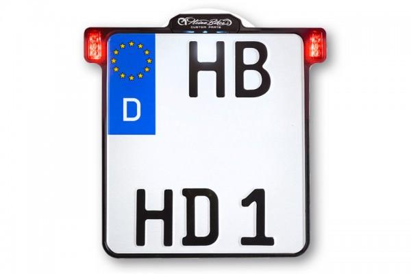 HeinzBikes ALL-INN 2.0 Kennzeichenhalter mit KNZ-Beleuchtung Rück- & Bremslicht, schwarz eloxiert