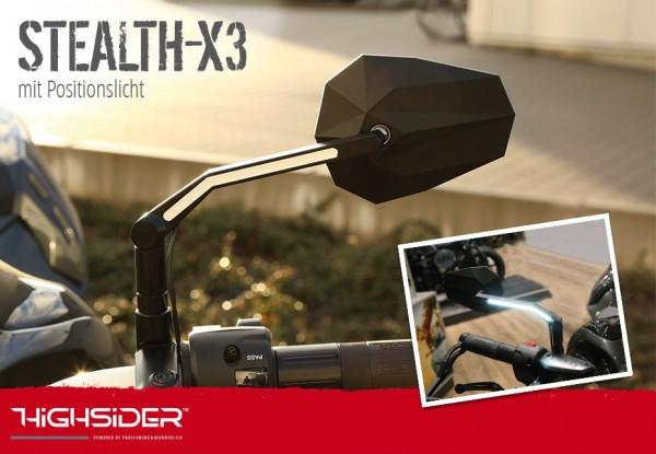 HIGHSIDER Spiegel STEALTH -X3 mit LED Positionslicht, schwarz