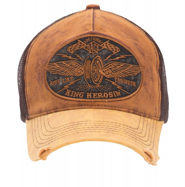 KING KEROSIN Trucker Denim Cap »Ride like Thunder« im Vintage Jeans Look mit Stickerei