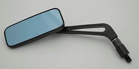 SHIN YO Aluspiegel, rechteckig, schwarz, blaues Glas, mit extra Adapter für YAMAHA, Paar Nicht zur V