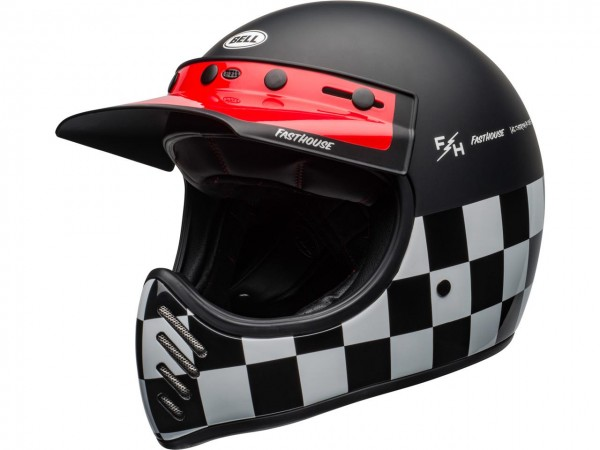BELL Moto-3 Helm Fasthouse Checkers Matte/Gloss Black/White/Red